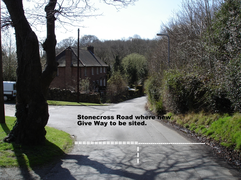 Stonecross Road where new junction will be formed.